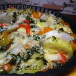 Репа с овощами запеченная под сыром